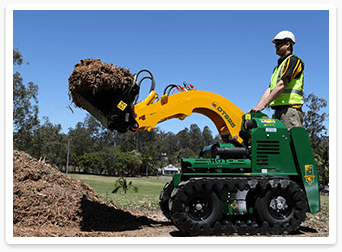 man using mini loaders