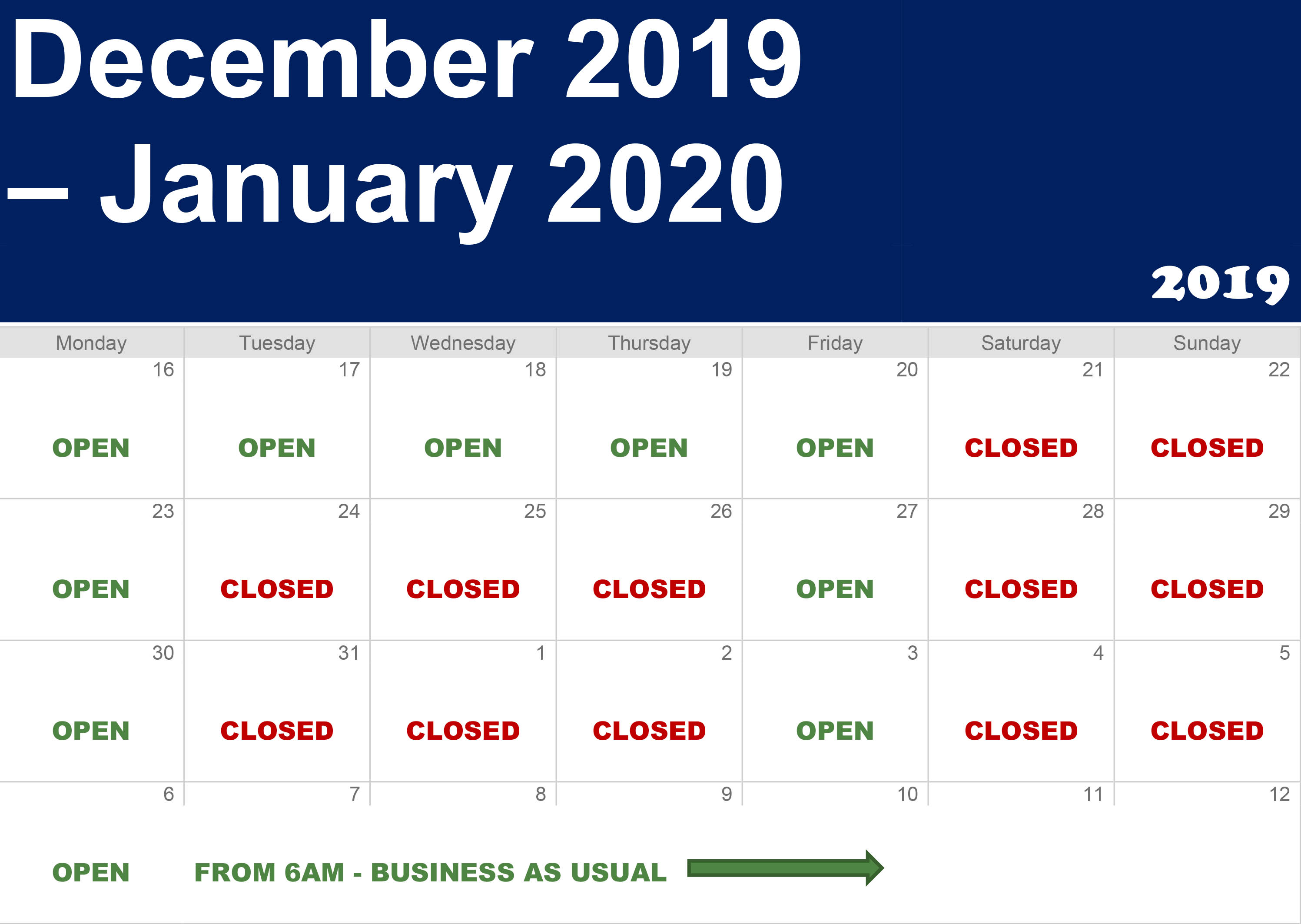 Calendar Open-Closed